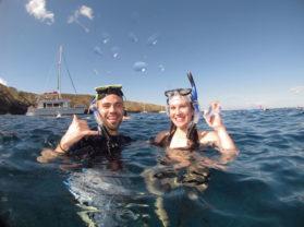 Happy Couple Snorkel Best Morning Molokini Tour Maui Hawaii